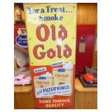 14X32 EMB. OLD GOLD TOB. CIG. SIGN