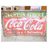 4FT.X 6FT. PORC. COKE FOUNTAIN SIGN