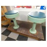 SET 4 GREEN ENAMEL BAR STOOLS