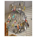VARIOUS FISHING LURES AND BASKET