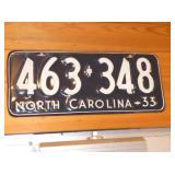 1933 NC LIC. TAG