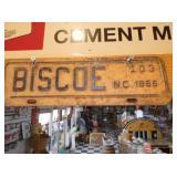 1966 BISCOE NC LIC. TAG