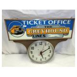 UNUSUAL 21X25 GREYHOUND TICKET OFFICE CLOCK
