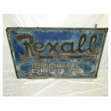 RARE 36X61 PUNCH TIN REXALL DRUG SIGN