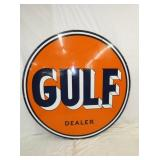 1955 6FT. PORC. GULF DEALER SIGN