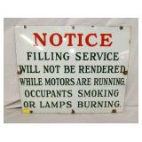 18X22 PORC. SINCLAIR NOTICE FILLING SIGN