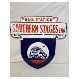 RARE 24X24 PORC. SOUTHERN STAGES BUS SIGN