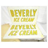24X40 NOS EMB. BEVERLY ICE CREAM SIGNS