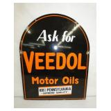 22X28 PORC. VEEDOL MOTOR OIL TOMBSTONE SIGN