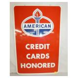 24X36 PORC. AMERICAN CARDS HONORED SIGN