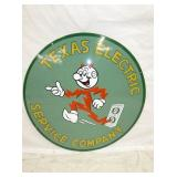 RARE 36IN PORC. REDDY KILOWATT TX ELE. SIGN