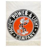 RARE 36IN PORC. REDDY KILOWATT SIGN