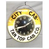 23IN CIT CAB TAN TOP CAB CO. CLOCK