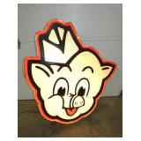 ORG. 48X52 LIGHTED PIGGLY WIGGLY HEAD SIGN