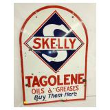 28X40 PORC. SKELLY TAGOLENE OILS & GREASES SIGN