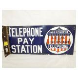 8X18 PORC. TELEPHONE PAY STATION FLANGE  SIGN
