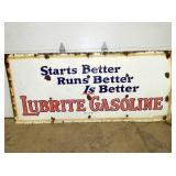 43X96 PORC. LUBRITE GASOLINE SIGN