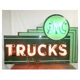 RARE 44X66 PORC. GMC TRUCK NEON CAN SIGN