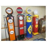 GROUP PHOTO EARLY RESTORED GAS PUMPS