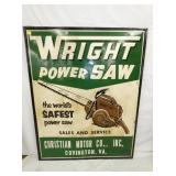 45X57 EMB. WRIGHT POWER SAW SIGN