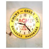 15IN. ACME QUALITY PAINTS CLOCK
