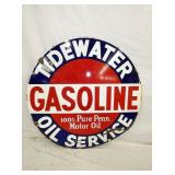 RARE PORC. 42IN TIDEWATER GASOLINE SIGN