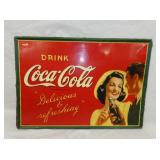 1920 20X28 SELF FRAMED COKE TIN SIGN