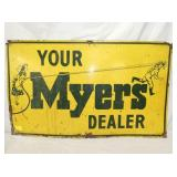 18X30 MYERS DEALER SIGN W/ LADY AND MAN  W/