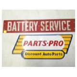 BATTERY SERVICE, PARTS PRO SIGNS