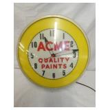 17IN ACME QUALITY PAINTS CLOCK
