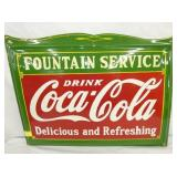RARE SIZE 18X24 PORC. COCA COLA FOUNTAIN SERVICE  SIGN