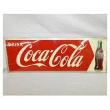 9 1/2X28 1950 COKE ARROW SIGN W/ BOTTLE