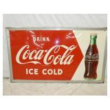 33X56 1952 DRINK COKE SELF FRAMED ARROW SIGN