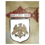 24X48 PORC. & BRASS BARCLAYS BANK SIGN W/ BRACKET