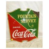 23X26 PORC. FOUNTAIN SERVICE COKE SIGN