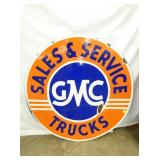 42IN PORC. GMC TRUCKS SIGN