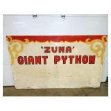 48X84 ZUMA GIANT PYTHON CIRCUS  SIGN