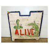 "48X48 WOODEN ""ALIVE"" ENTRANCE SIGN"