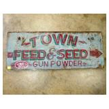 16X40 WOODEN TOWN FEED & SEED SIGN