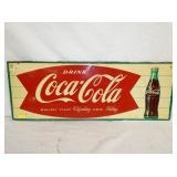 12X32 COKE FISHTAIL SELF FRAMED SIGN W/ BOTTLE
