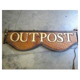 24X88 HANDCARVED SIGNED WOODEN OUTPOST SIGN