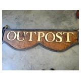 VIEW 2 OTHERSIDE HANDCARVED OUTPOST WOODEN SIGN