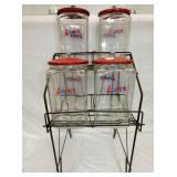 4 TALL LANCE JARS W/ RACK