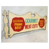VIEW 2 CLOSEUP WOODEN GOURMET MEAT SIGN