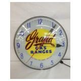 GRAND GAS RANGES ADV. CLOCK