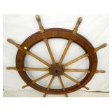 VIEW 2 CLOSEUP WOODEN SHIPS WHEEL