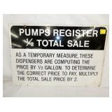 16X24 PUMP REGISTER SALE SIGN