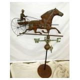COPPER JOCKEY W/ CART WEATHER VANE