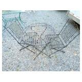 2PC. WROUGHT IRON TABLE W/ CHAIRS