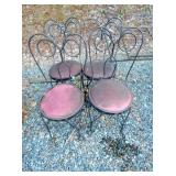 4 EARLY IRON ICE CREAM CHAIRS